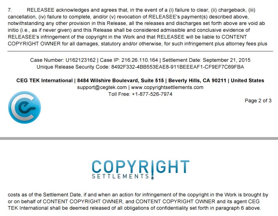 111715 Admission of Guilt in CEG-TEK Settlement Agreement