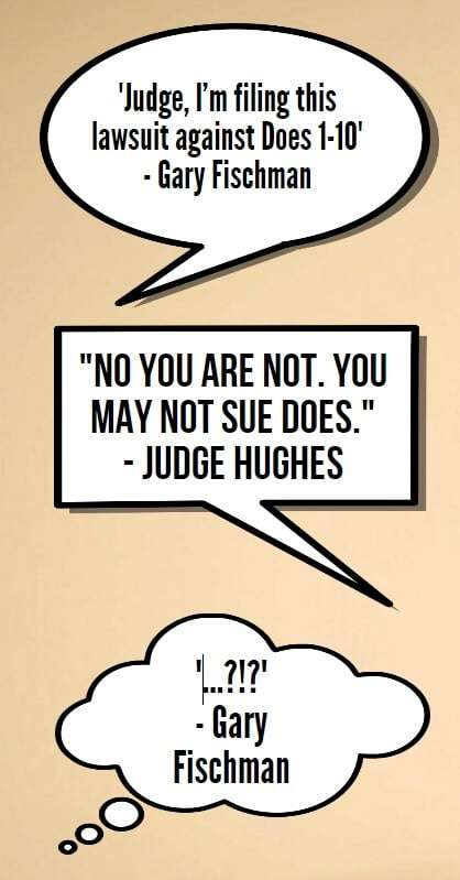 Pictographic of the interaction between Gary Fischman and Judge Hughes