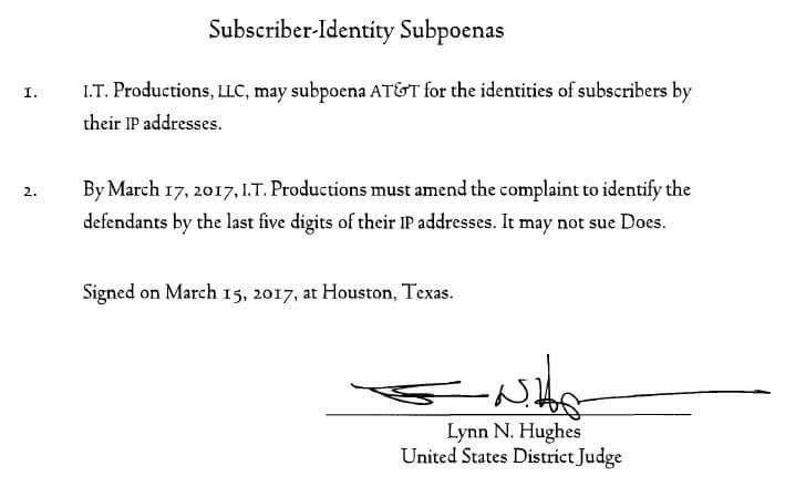Judge Hughes I.T. Productions Order (TX)