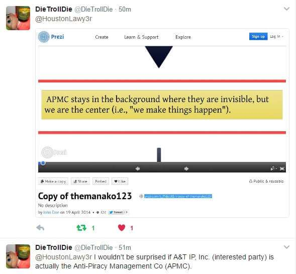 DTD Twitter Screenshot Suggesting A&T IP, Inc. is APMC.